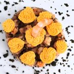 Cheesecake salata di amaranto, mazzancolle e zafferano in 350 Kcal