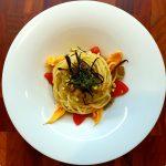 Spaghetti di Gragnano, melanzane e salsa di pane