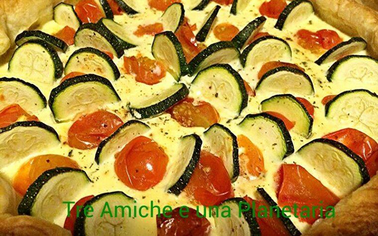 Torta salata con ricotta,pomodorini e zucchine