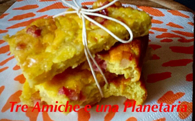 Frittata con cipolla e pancetta