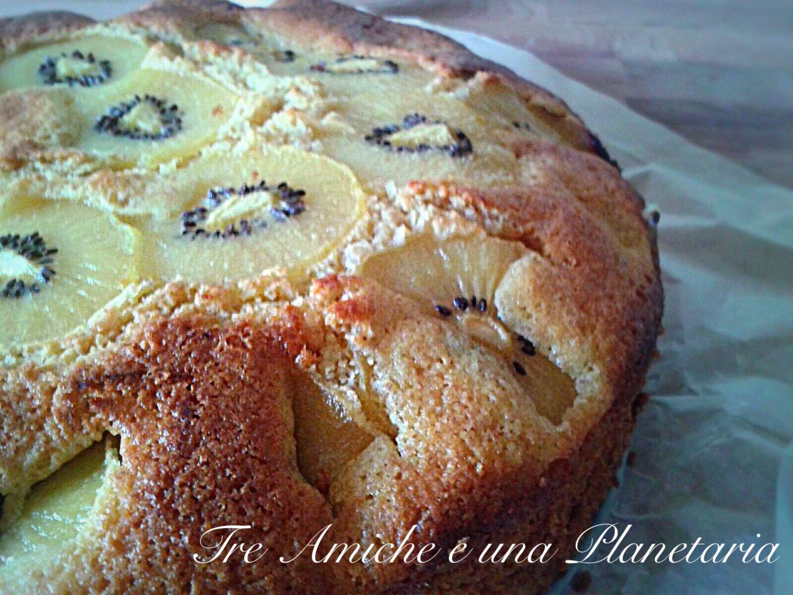 Torta margherita con farina integrale e kiwi