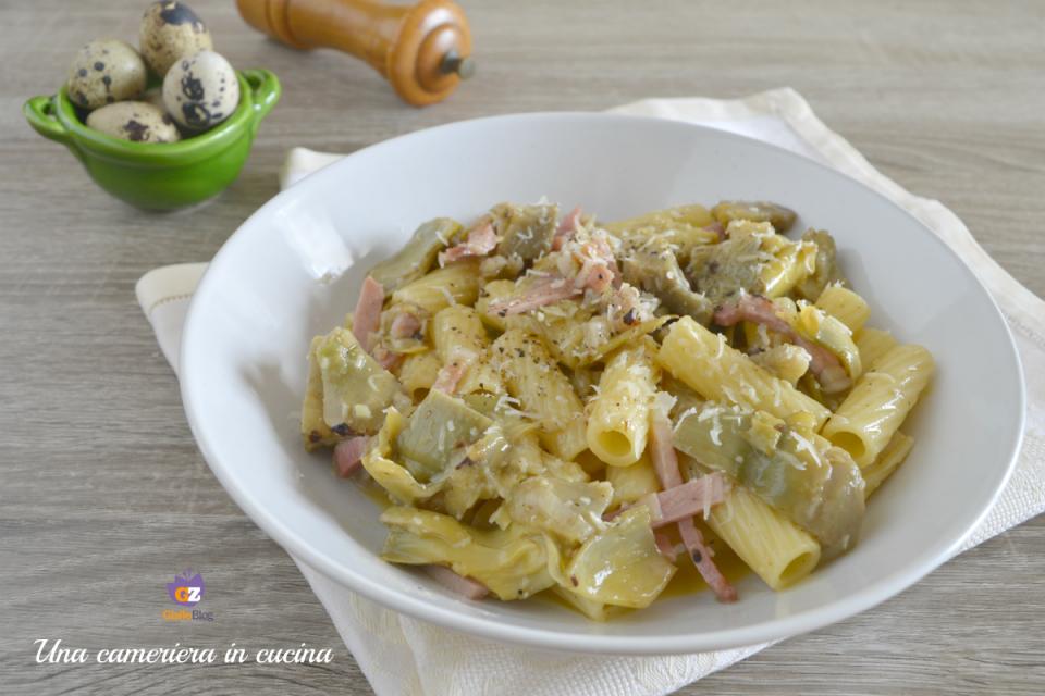 tortiglioni-carciofi-speck-uova-quaglia