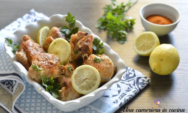 Pollo al limone e paprika in padella