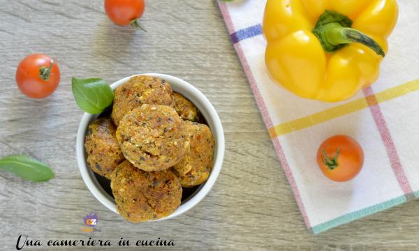 Polpettine ai peperoni e formaggio – senza uova