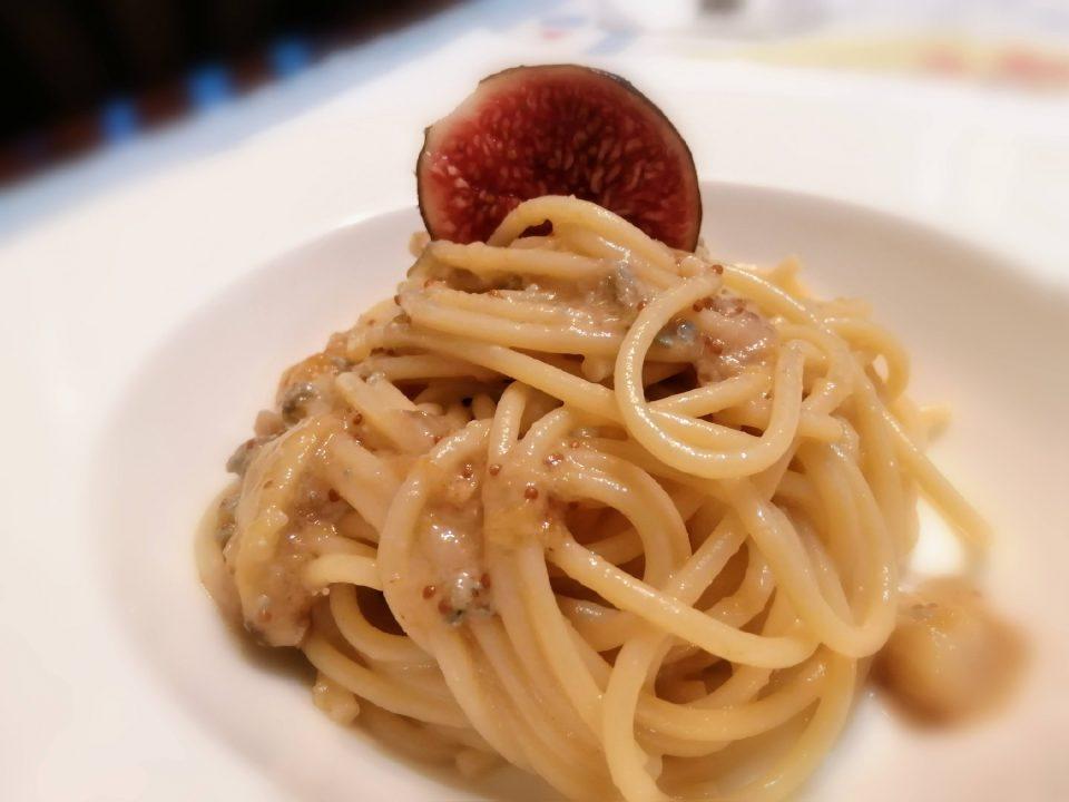 spaghetti gorgonzola e fichi