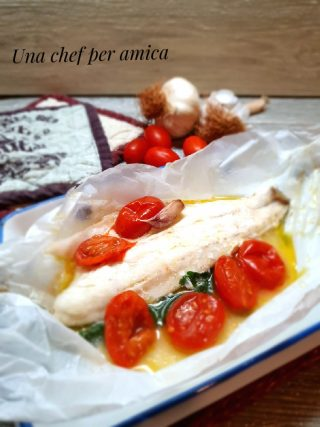Spigola o branzino al cartoccio con pomodorini 1