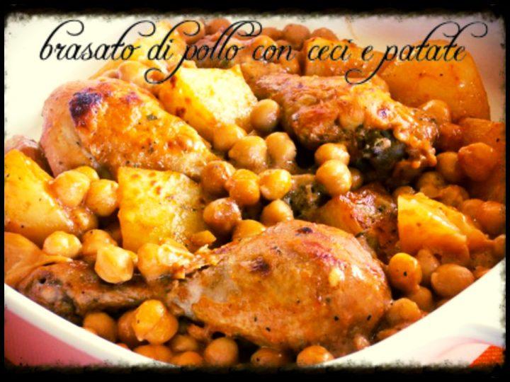 Brasato di pollo con ceci e patate