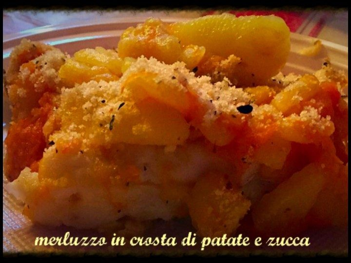 Merluzzo in crosta di patate e zucca