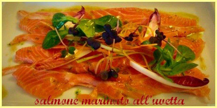 Salmone marinato con uvetta