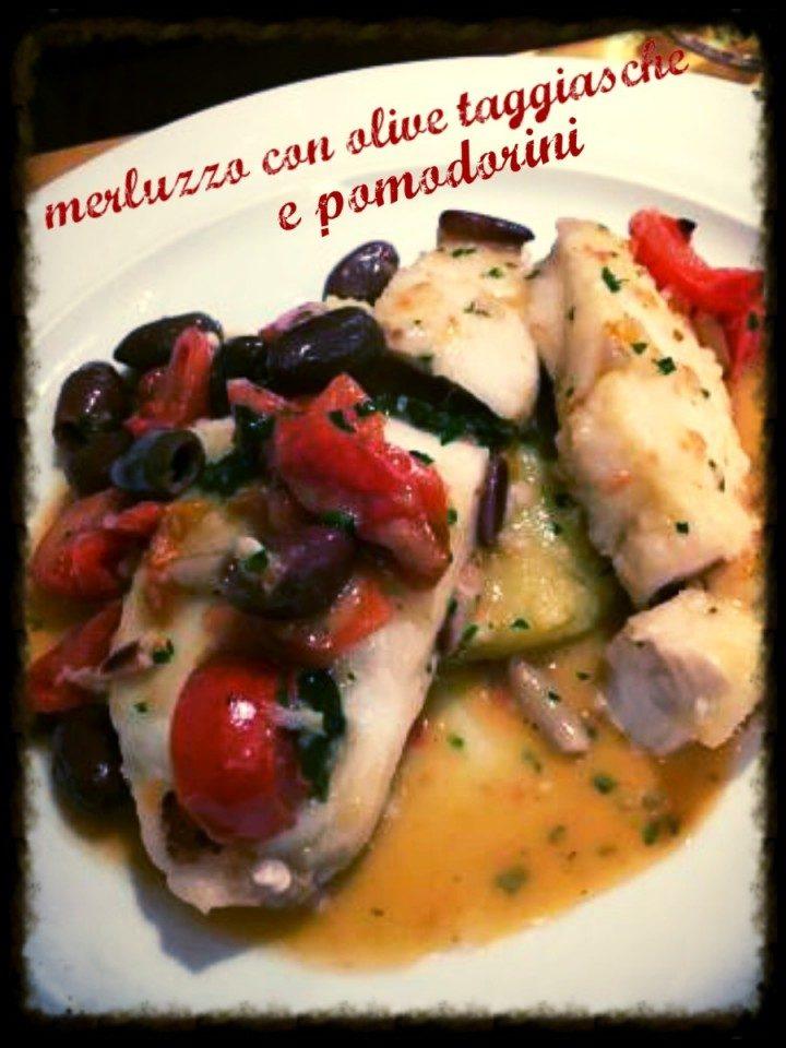 Merluzzo con olive taggiasche e pomodorini