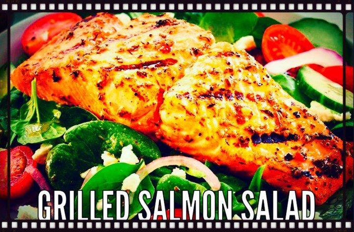 Insalata con salmone grigliato