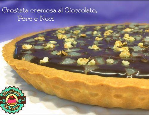 Crostata cremosa al Cioccolato, Pere e Noci