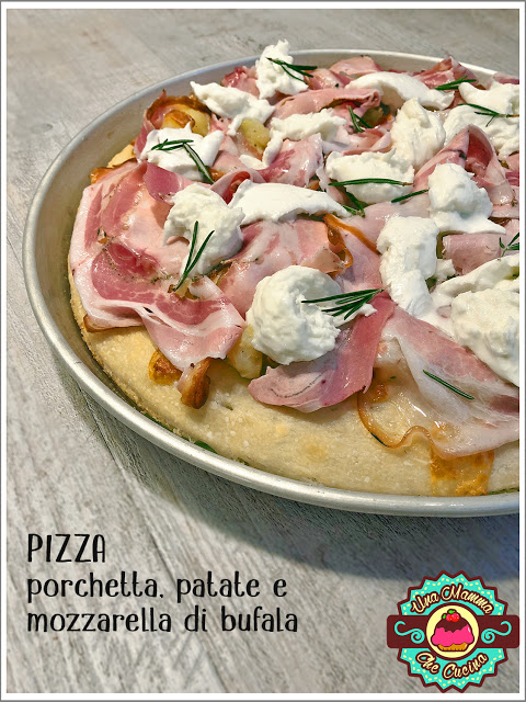 Pizza con porchetta patate e bufala