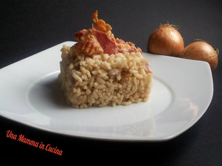 Risotto con bacon e cipolle