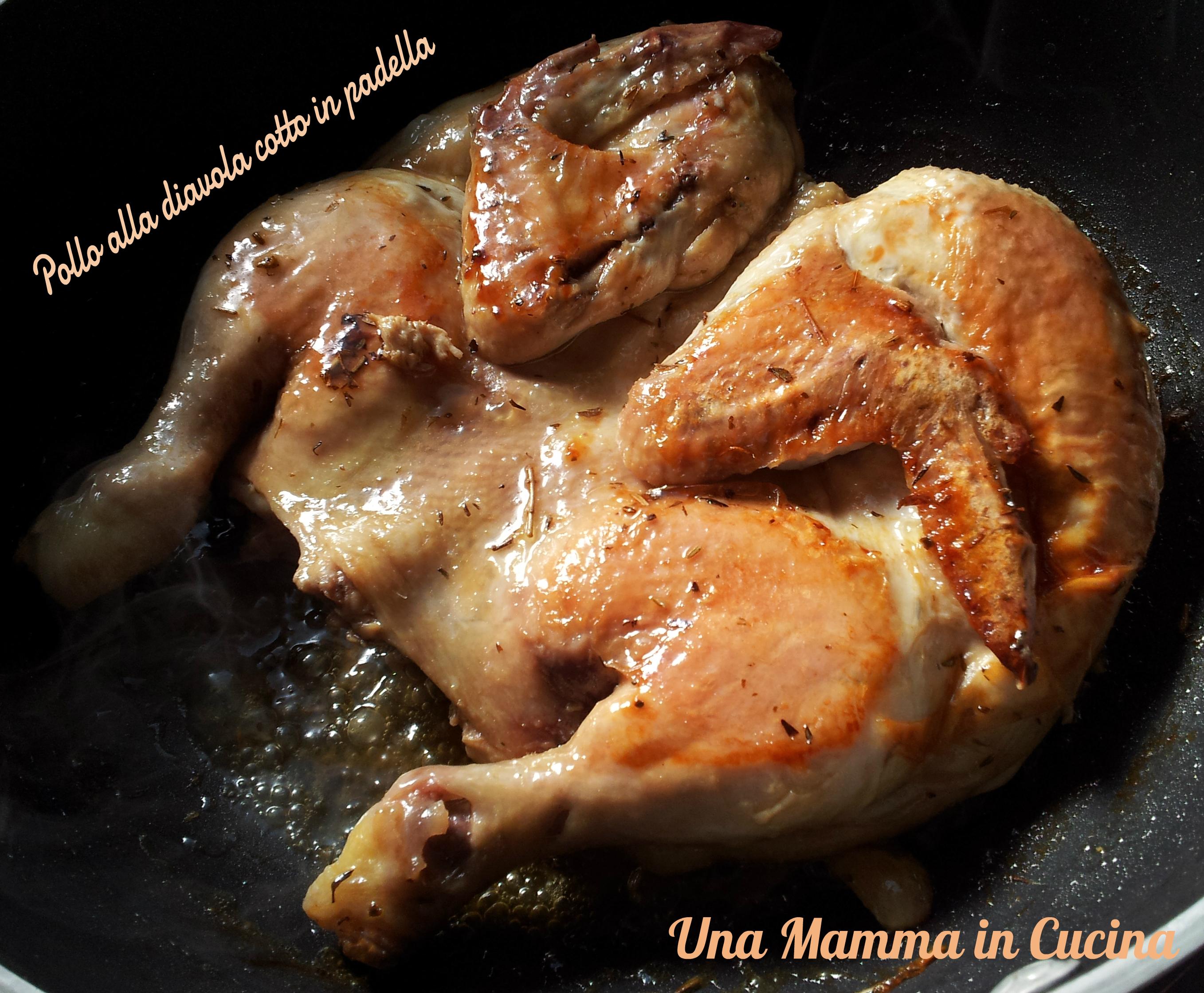 Pollo alla diavola cotto in padella
