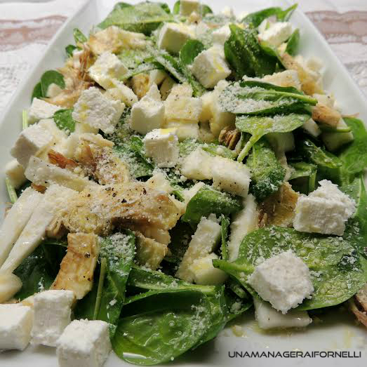 insalata carciofi spinaci e sedano rapa