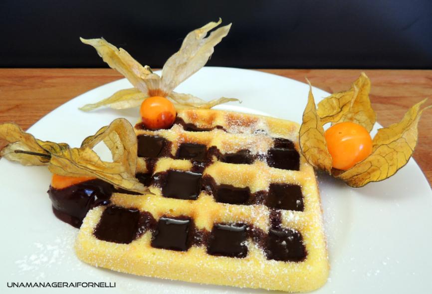 Waffles senza glutine con ganache di cioccolato
