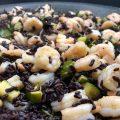 riso nero di goio mazzancolle e zucchine