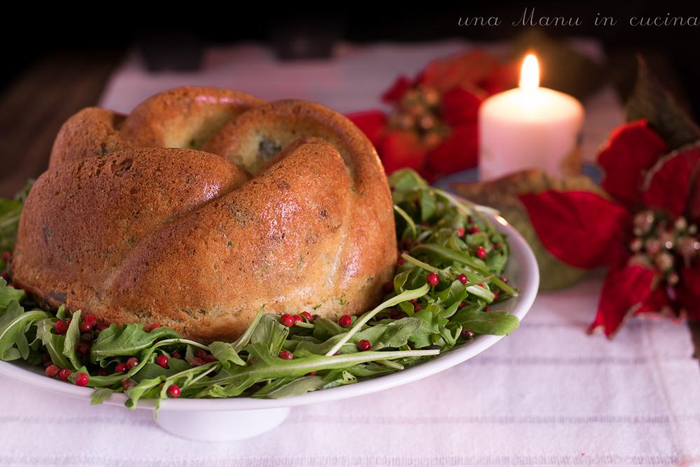 Ciambella Salata con Noci, Rucola e Gorgonzola