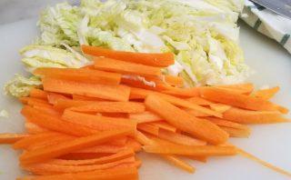carote e cavolo verza tagliati a striscioline
