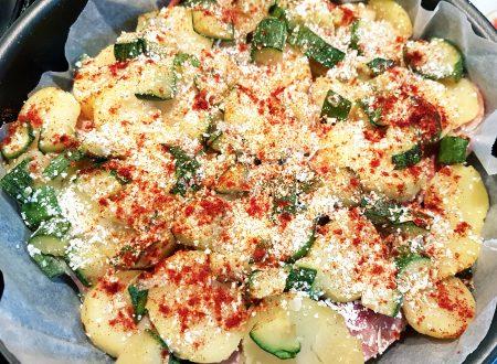 Tortino di patate, zucchine e prosciutto cotto alla paprika