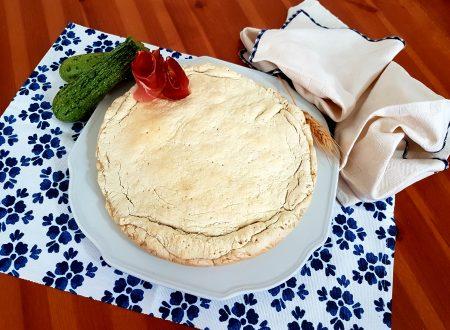 Pizza farcita con zucchine, speck e gorgonzola
