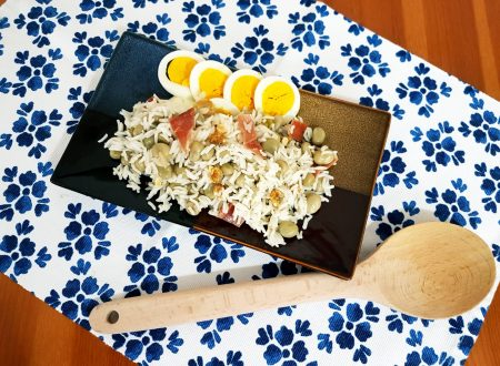 Insalata di riso con fave, speck e noci