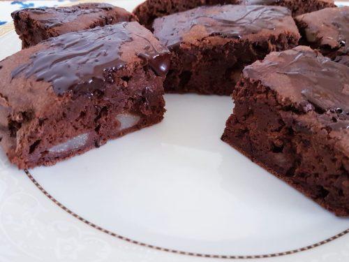 Brownies pera e cioccolato, senza zucchero