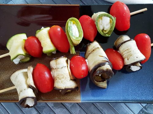 Spiedini di melanzane e zucchine alla robiola