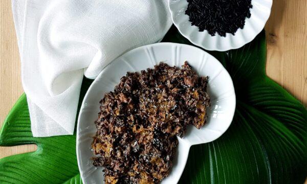 Curry di zucca e merluzzo con riso venere