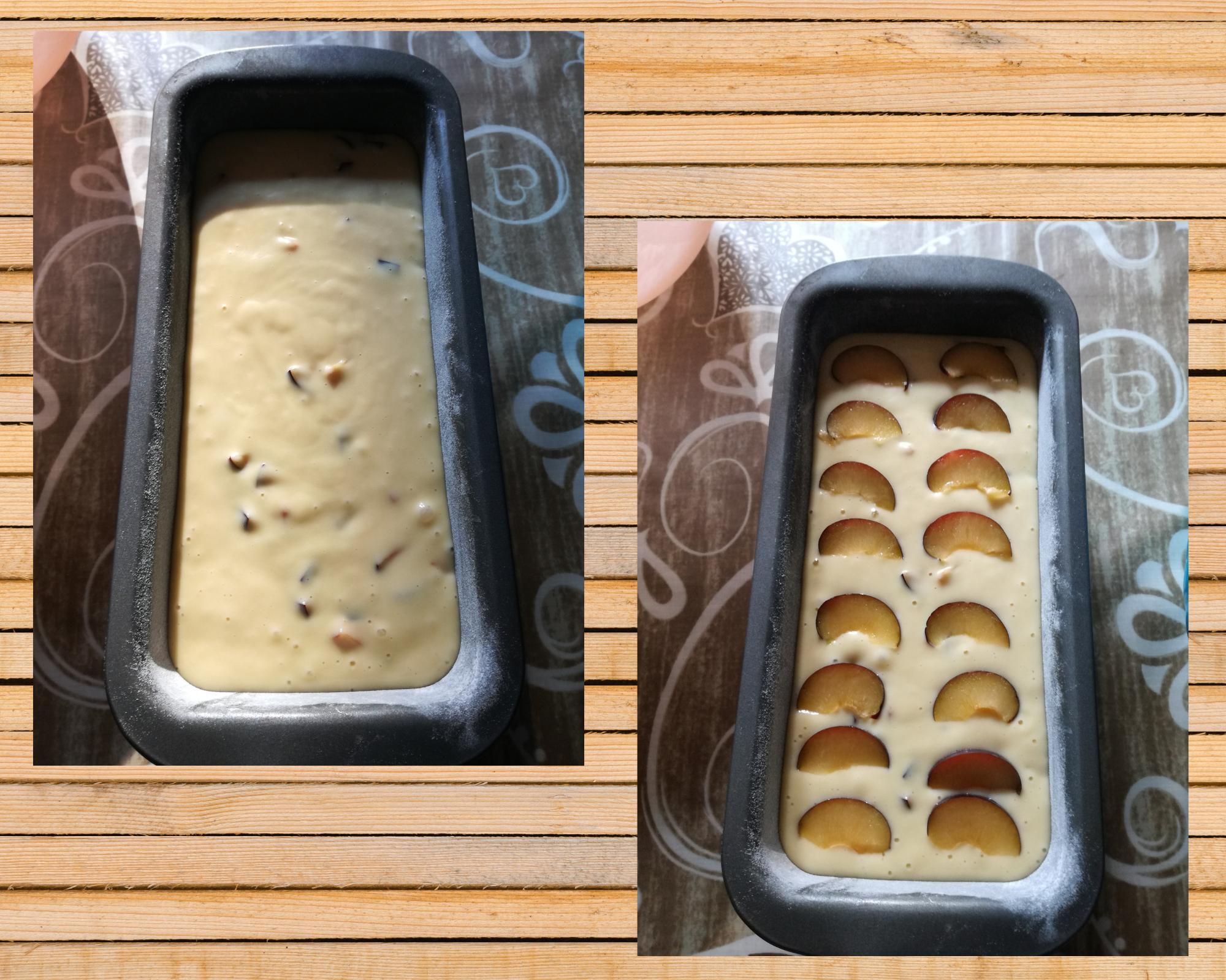 plumcake con le susine versato
