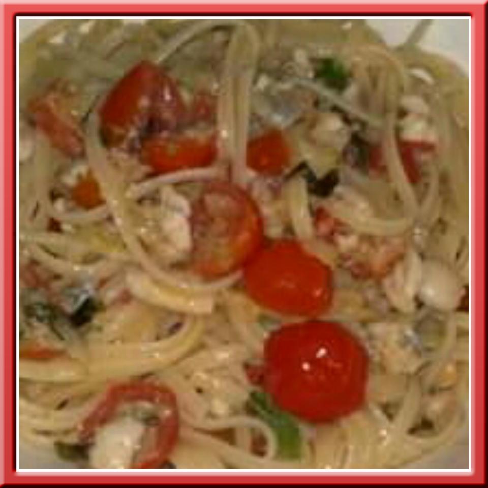 Spaghetti pesce spatola e patè di ricciola