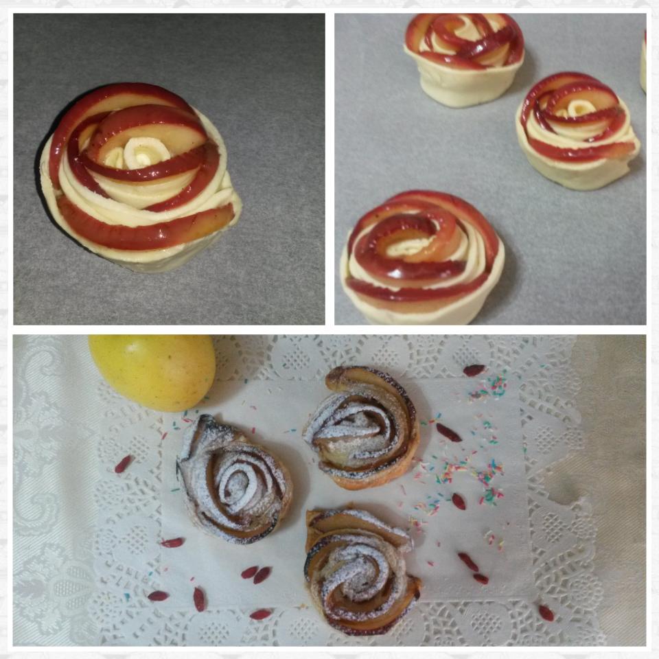 Roselline di sfoglia con mele e cannella