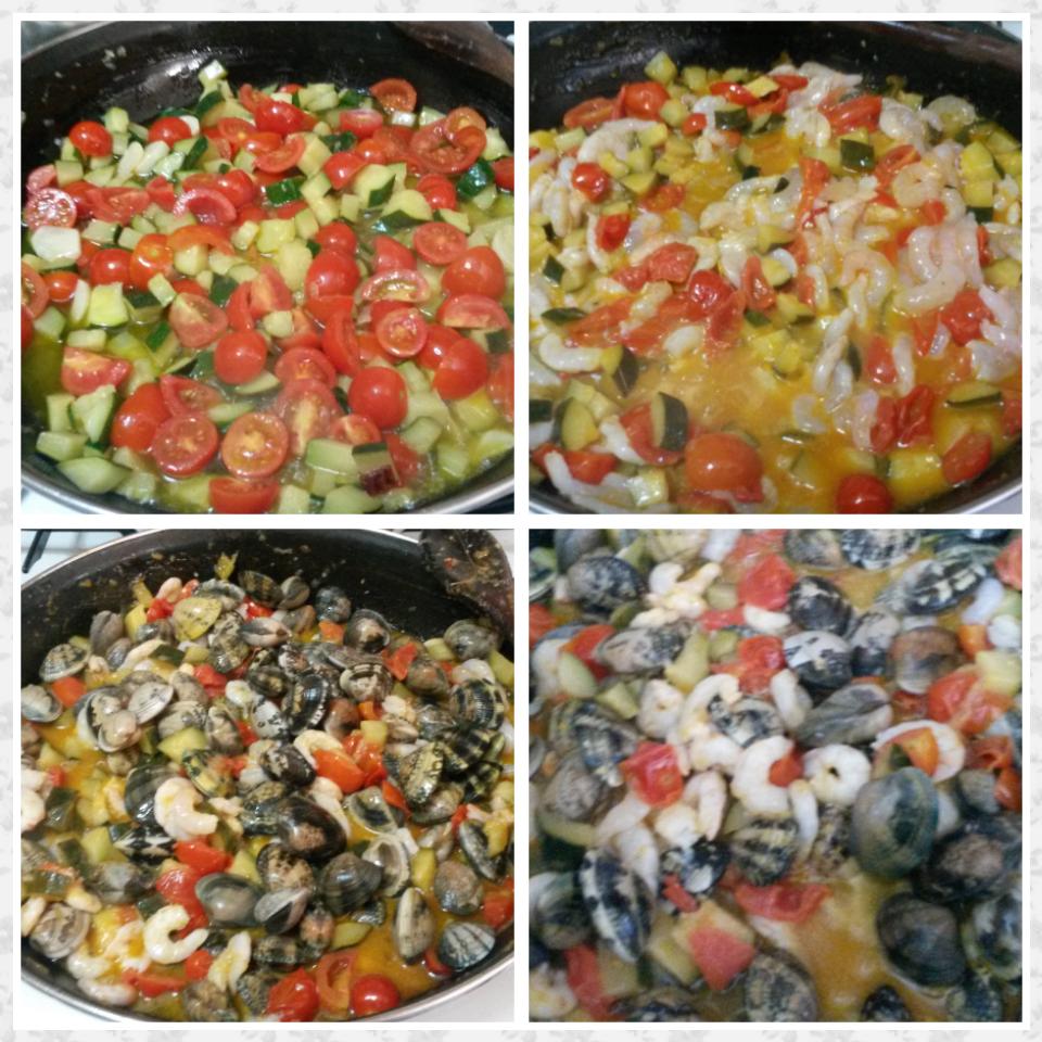 Ricetta Vongole Zucchine E Gamberetti.Spaghetti Gamberetti Vongole E Zucchine Una Spia In Cucina