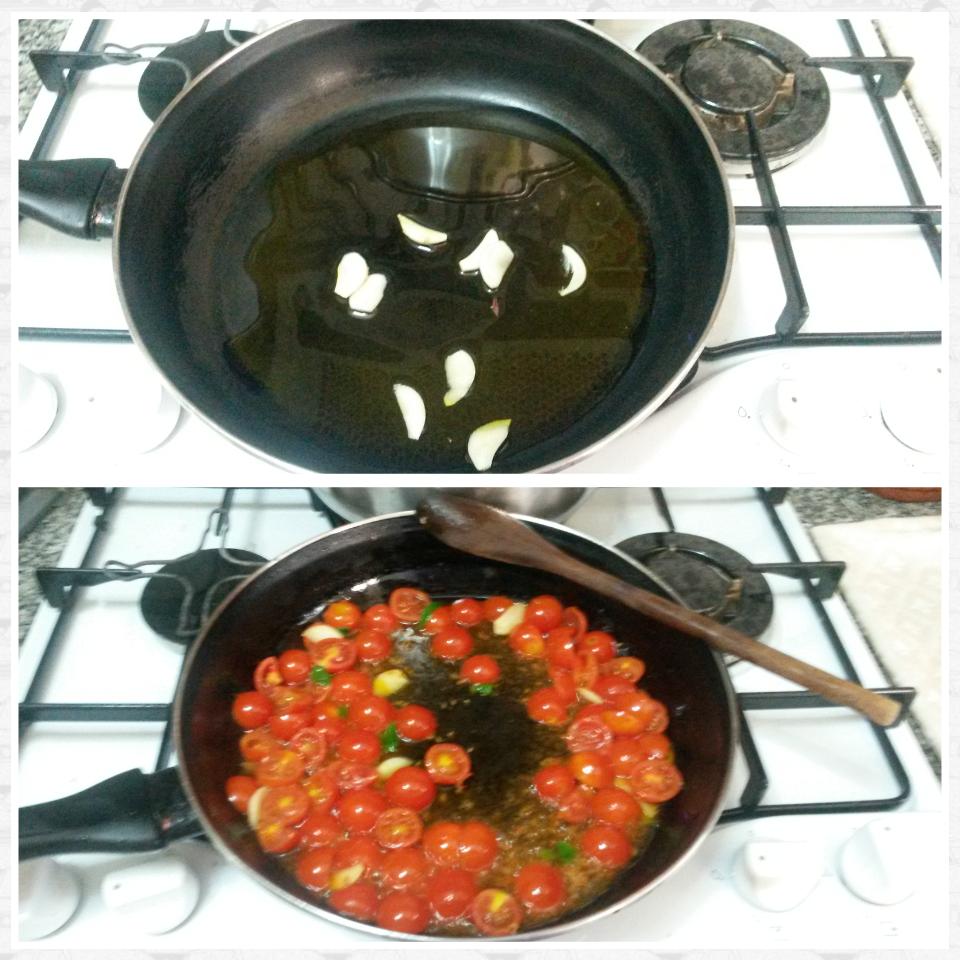 Spaghetti pesto, pomodorini e tonno