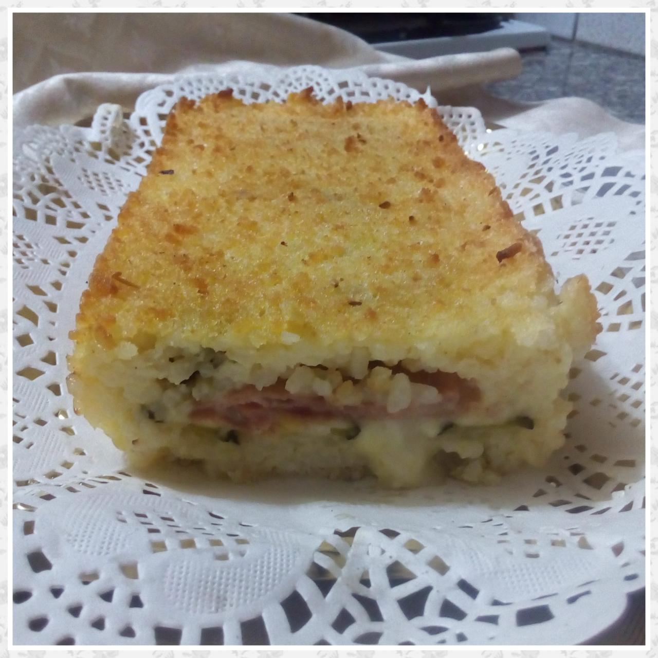 Mattonella di riso con zucchine, cotto e formaggio