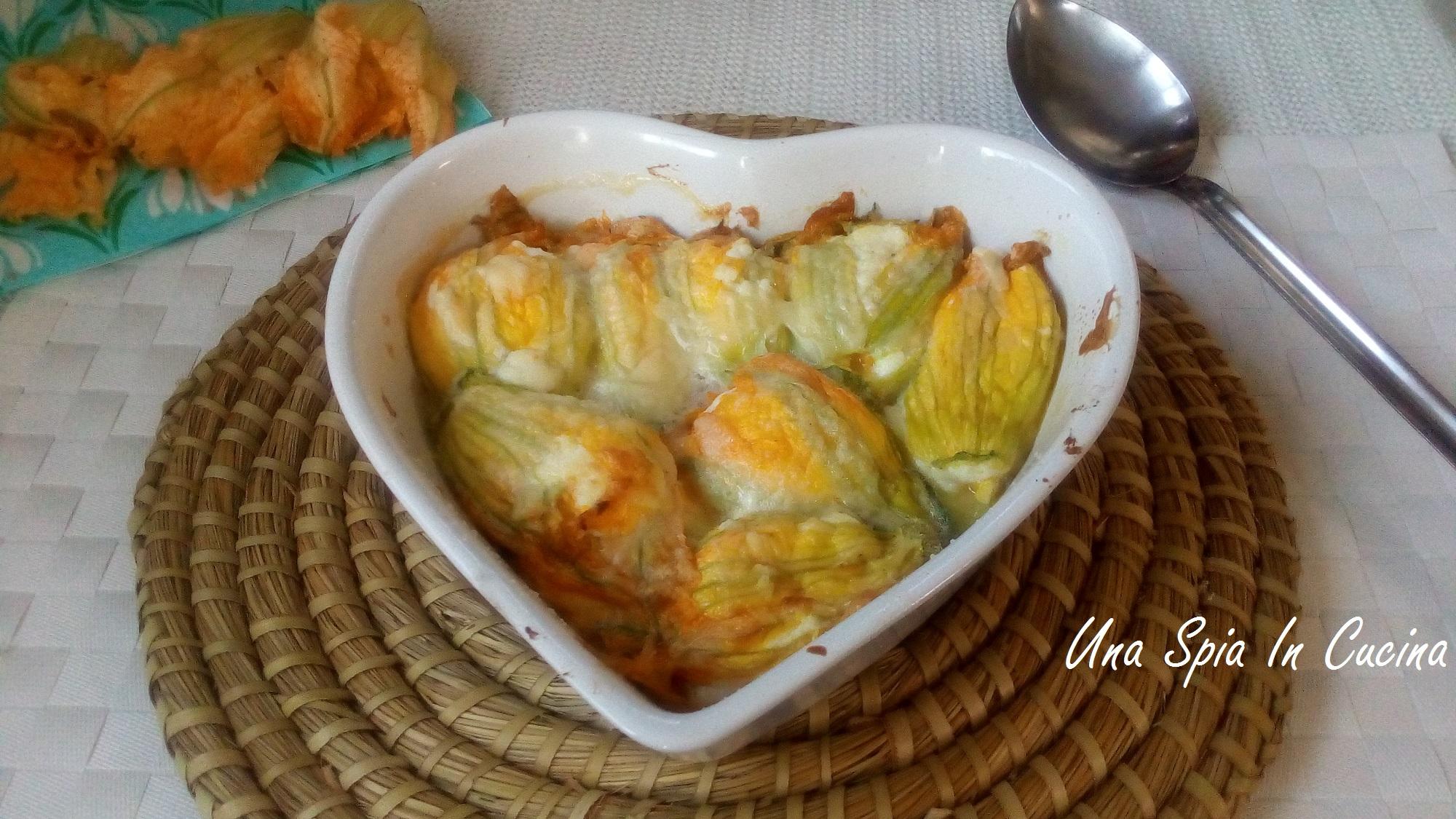 Fiori di zucchine con ricotta al forno