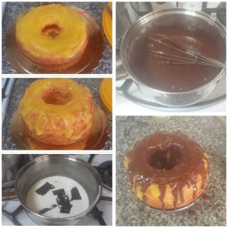 Torta con crema all'arancia e colata di cioccolato