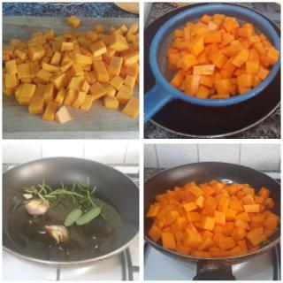 Bruschette con zucca, olive e briciole di feta