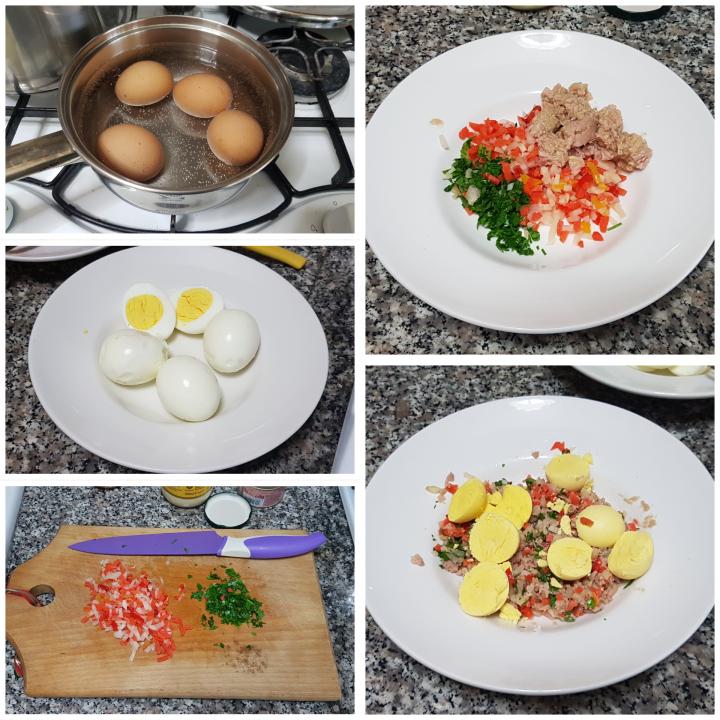 Uova ripiene con tonno, sottaceti e maionese