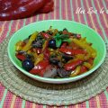 Peperoni con olive e capperi - Cottura in padella