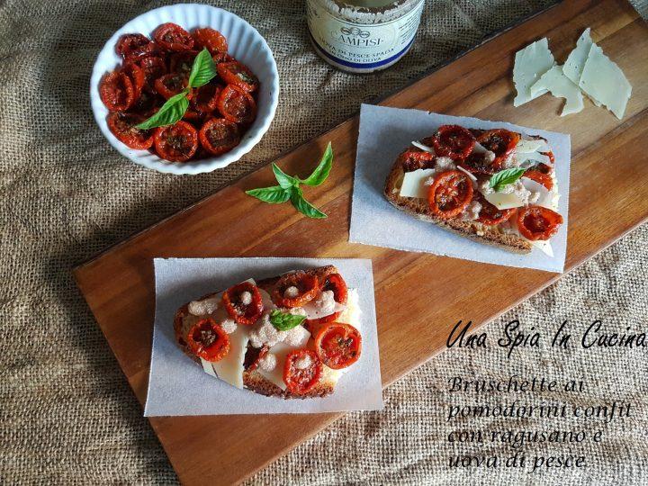 Bruschette ai pomodorini confit con ragusano e uova di pesce