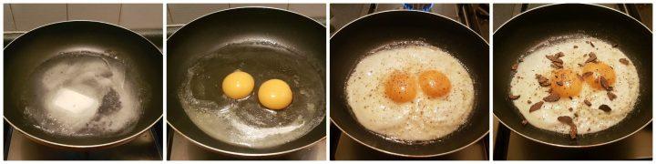 Uova fritte al tartufo nero appetitose e profumate