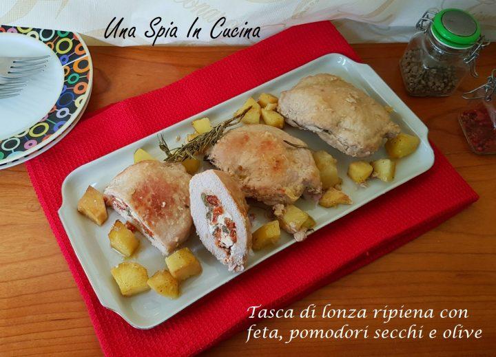Tasca Di Lonza Ripiena Con Feta Pomodori Secchi E Olive Una Spia