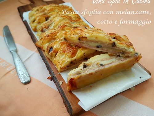 Treccia di pasta sfoglia con melanzane e mozzarella