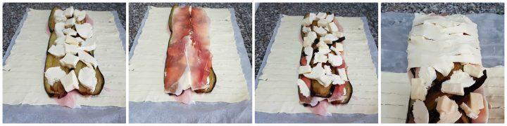 Pasta sfoglia con melanzane, cotto e mozzarella