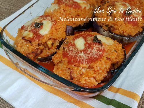Melanzane ripiene di riso filante