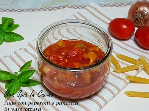 Sugo con peperoni e pancetta in vasocottura