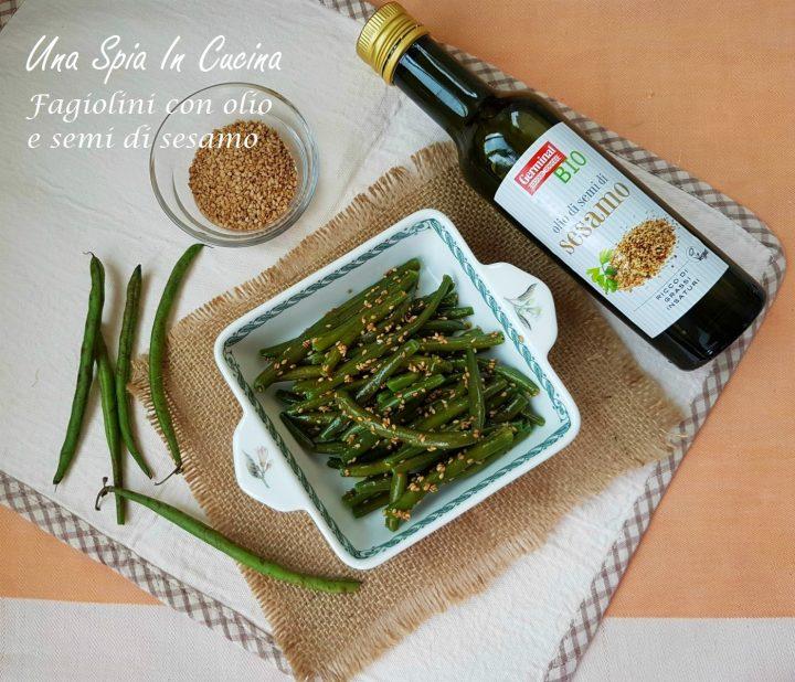Fagiolini con olio e semi di sesamo
