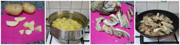 Salsiccia al forno con patate e pleurotus